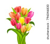 bouquet of different color...   Shutterstock .eps vector #796046830
