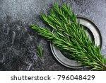 Fresh Rosemary Herb On The Dar...