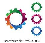 vector logo design of gear in 4 ... | Shutterstock .eps vector #796051888