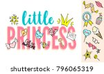 little princess lettering with... | Shutterstock .eps vector #796065319