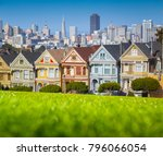 classic postcard view of famous ... | Shutterstock . vector #796066054