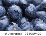 wet fresh blueberry background. ... | Shutterstock . vector #796069420