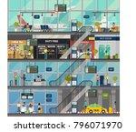 indoor view on international... | Shutterstock .eps vector #796071970