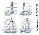 set of isolated sketches with... | Shutterstock .eps vector #796071988