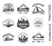 set of isolated mountain peaks. ... | Shutterstock .eps vector #796072000