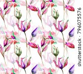 seamless pattern with tulips... | Shutterstock . vector #796075576