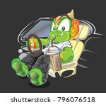 thai giant driver and smiling... | Shutterstock .eps vector #796076518