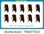 set of woman expression... | Shutterstock .eps vector #796077313