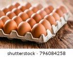 chicken eggs in carton box on...   Shutterstock . vector #796084258