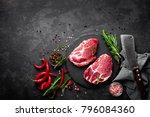 raw pork meat. fresh steaks on...