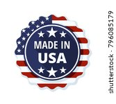 made in usa label  illustration | Shutterstock .eps vector #796085179