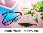 glasses in the workplace. the...   Shutterstock . vector #796092508