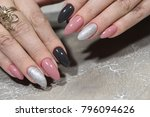 fashionable pink manicure on... | Shutterstock . vector #796094626