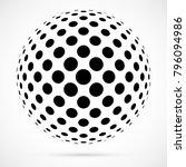 white 3d vector halftone sphere.... | Shutterstock .eps vector #796094986