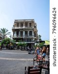 Small photo of TEL AVIV, ISRAEL - AUGUST 18, 2010: Vertical picture of old building at Magen David Square in Tel Aviv, Israel