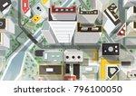 top  aerial or bird's eye view... | Shutterstock .eps vector #796100050
