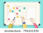 magnetic whiteboard with table... | Shutterstock .eps vector #796101550