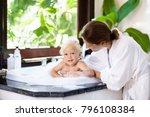 little child taking bubble bath ... | Shutterstock . vector #796108384