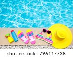 swimming pool accessories flat... | Shutterstock . vector #796117738
