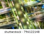 night transport intersection... | Shutterstock . vector #796122148