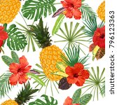 yellow pineapples  red hibiscus ... | Shutterstock .eps vector #796123363