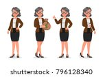 set of business woman working... | Shutterstock .eps vector #796128340