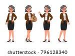 set of business woman working... | Shutterstock .eps vector #796128340