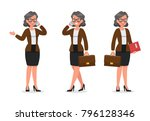 set of business woman working... | Shutterstock .eps vector #796128346