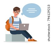 happy boy thinking and working... | Shutterstock .eps vector #796129213