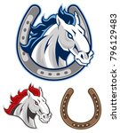 horse with horseshoe mascot | Shutterstock .eps vector #796129483
