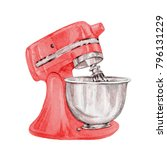 hand drawn watercolor red mixer ... | Shutterstock . vector #796131229