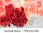 Stock photo red rose white silk background baby s breath green fern water droplets wedding valentines day 796131766