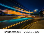 vehicle light trails in city at ... | Shutterstock . vector #796132129