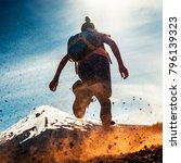 woman athlete runs on a dirty... | Shutterstock . vector #796139323