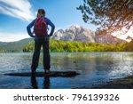 woman hiker enjoys view of the... | Shutterstock . vector #796139326