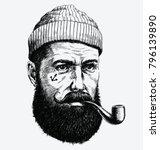 hand drawn vintage hipster... | Shutterstock .eps vector #796139890