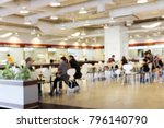 Stock photo blur image canteen dining hall room a lot of people are eating food in university canteen blur 796140790