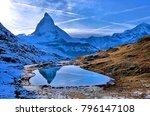 reflection of the matterhorn on ... | Shutterstock . vector #796147108
