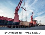 heavy lift cargo handle by the... | Shutterstock . vector #796152010