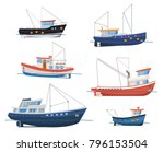 fishing boats side view... | Shutterstock .eps vector #796153504