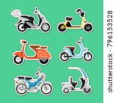 vintage and modern scooters... | Shutterstock .eps vector #796153528