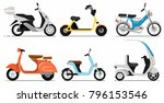 vintage and modern scooters set.... | Shutterstock .eps vector #796153546