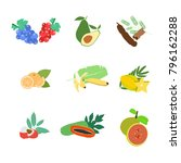 various fruit flat design  wine ...   Shutterstock .eps vector #796162288