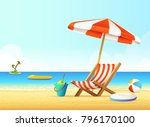 sunbed and umbrella on a sandy... | Shutterstock .eps vector #796170100