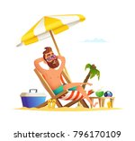 beard man sitting on a sunbed....   Shutterstock .eps vector #796170109