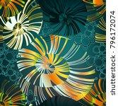 pinstripe sea shell. curl... | Shutterstock .eps vector #796172074