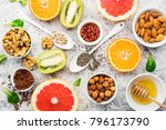 ingredients of healthy dietary... | Shutterstock . vector #796173790
