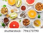 ingredients of healthy dietary...   Shutterstock . vector #796173790