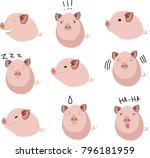 cute chubby pig farms cartoon... | Shutterstock .eps vector #796181959