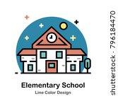 elementary school buidling line ... | Shutterstock .eps vector #796184470